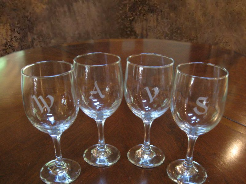 Engraved Wine Glasses with Initials